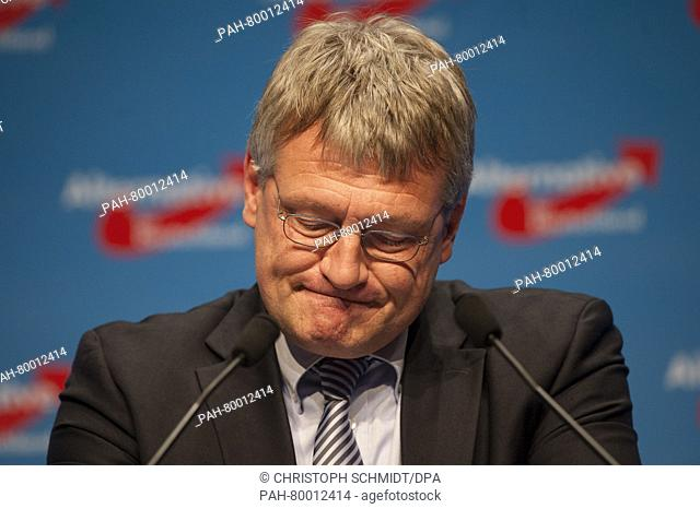 Joerg Meuthen, Federal Chairperson for the AfD speaks to party members during the 5th party convention of the Alternative for Germany (AfD) at the show grounds...