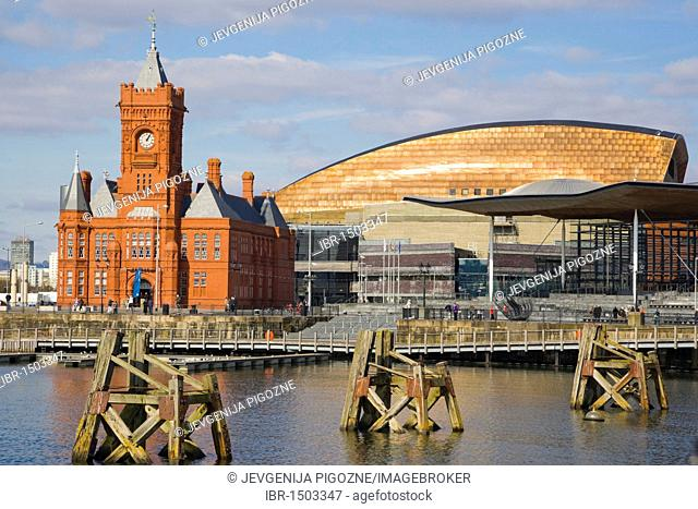 National Assembly for Wales complex, The Pierhead Building, The Senedd, Senate, and Wales Millennium Centre, Canolfan Mileniwm Cymru, Cardiff Bay, Cardiff