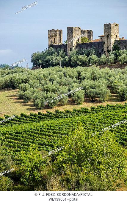 Monteriggioni fortress walls. Tuscany, Italy