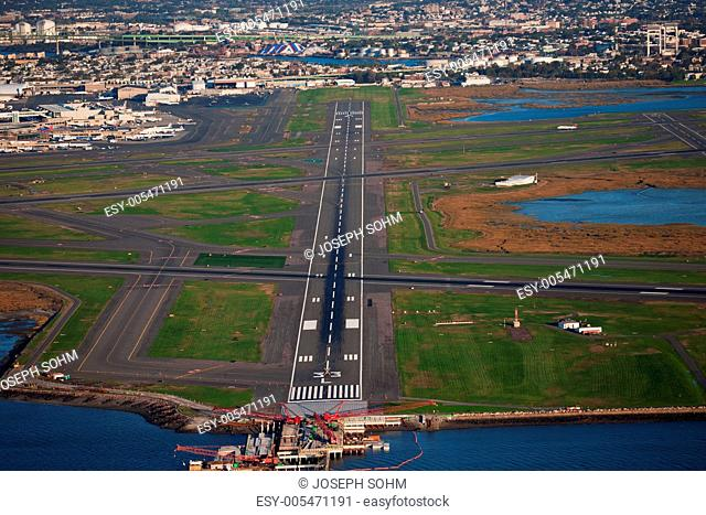 AERIAL VIEW of runway at Logan International Airport, Boston, MA