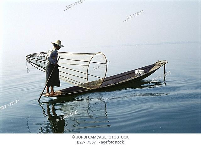 Intha fisherman. Inle Lake. Myanmar