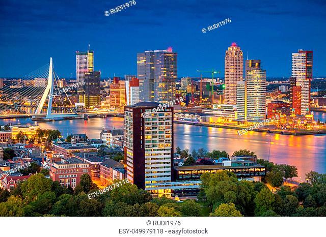 Cityscape image of Rotterdam, Netherlands during twilight blue hour