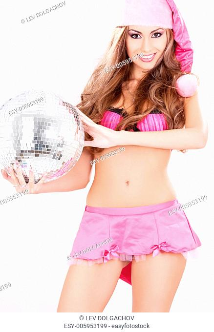 sexy santa helper in pink lingerie with disco ball