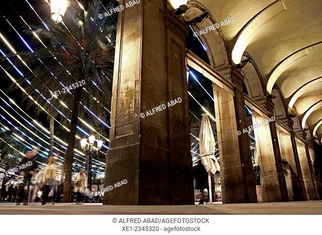 Arcades, Plaça Reial at night, Christmas lights, Barcelona, Catalonia, Spain