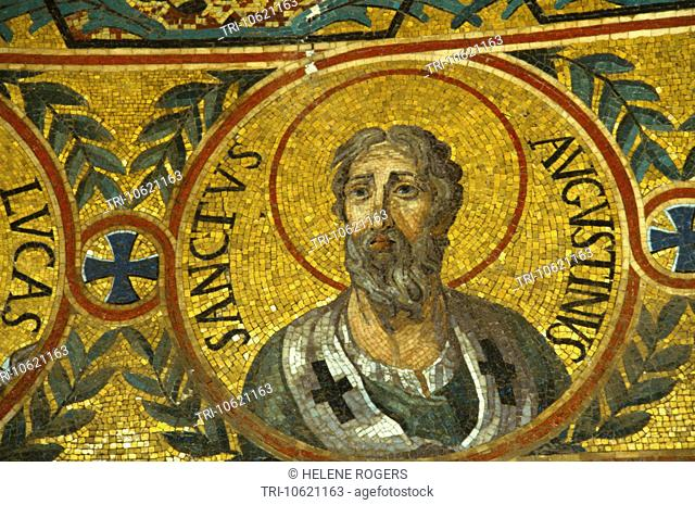 Palermo Sicily Italy The Palatine Chapel In The Norman Palace Mosaic Of Saint Augustine