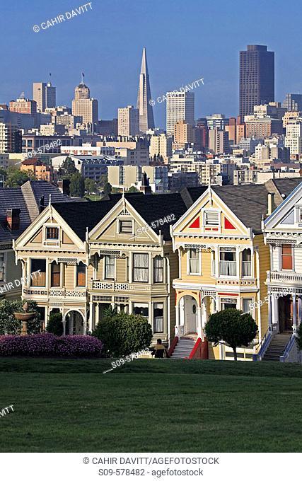 Victorian Houses in Alamo Square, San Francisco, California, United States of America