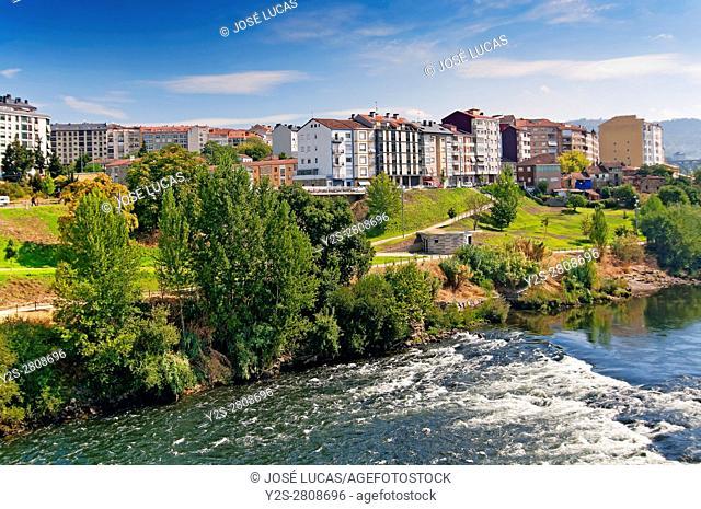 Urban view with river Miño, Orense, Region of Galicia, Spain, Europe