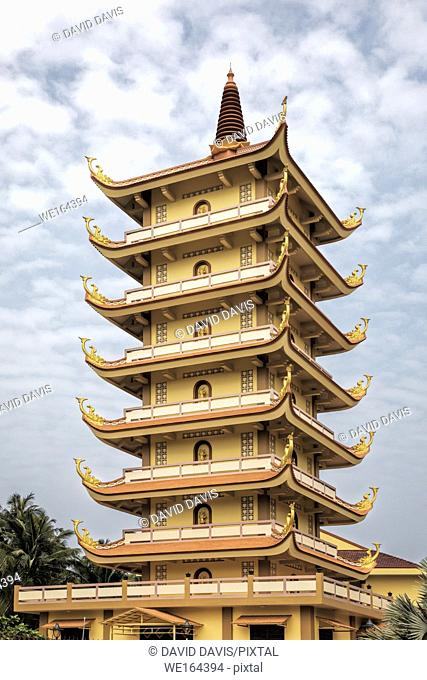 A Pagoda inside the Buddhist temple at the Vinh Trang Temple in Mytho City, Mekong Delta, Vietnam