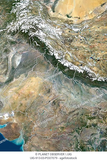 Satellite view of North India with administrative boundaries, including boundaries of Jammu and Kashmir disputed areas. This image was compiled from data...