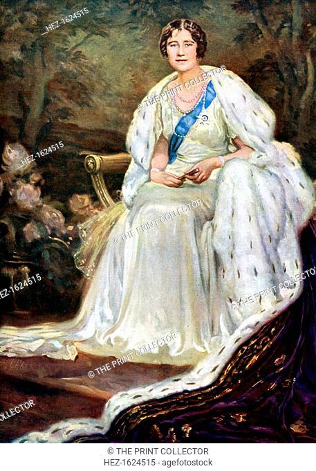 Queen Elizabeth in coronation robes, 1937. Portrait of Elizabeth (1900-2002), Queen Consort of George VI of the United Kingdom