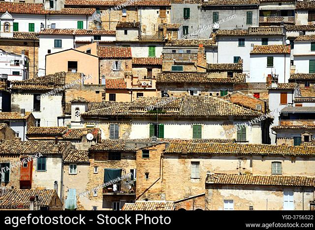 Front view of facades in historic town Loreto Aprutino - town in the Province of Pescara, Abruzzo region, central Italy, Europe