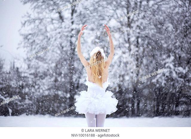 Ballerina in snow