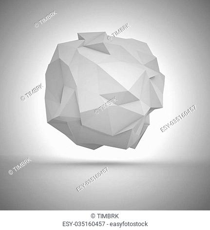 Geometric abstraction - big white crumpled sphere