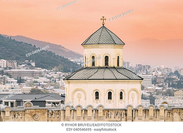 Exterior Of The Holy Trinity Cathedral of Tbilisi, Georgia. Sameba is the main cathedral of the Georgian Orthodox Church