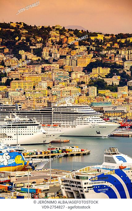 Porto Vecchio old harbour, cruises and panoramic view of the port and the city. Genoa. Mediterranean Sea. Liguria, Italy Europe