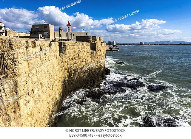 Fortification wall of the port city Akko and St. John church in the background, Israel, Middle East