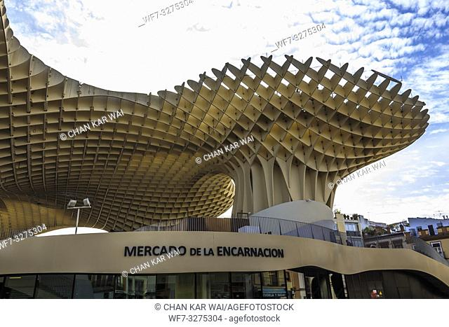 Seville, Spain - Dec 2018: Bottom up view of Mushrooms of Seville , also known as Metropol Parasol. It was designed by the German architect Jurgen Mayer and was...