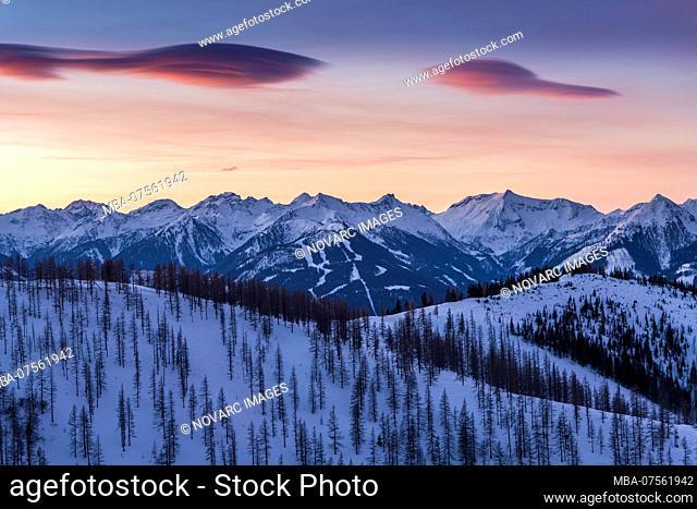 Sunrise at the foot of the Dachstein massif, view of the Schladminger Tauern, Dachstein, Austria