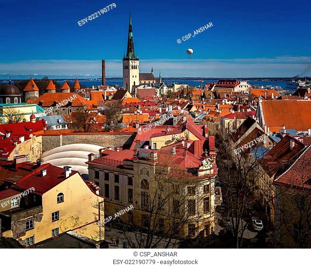 Aerial View of Tallinn Old Town and Olaviste Church from Toompea Hill, Tallinn, Estonia