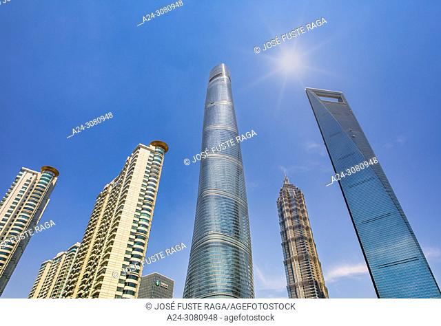 China, Shanghai City, Pudong District, Lujiazui Area, Jin Mao Bldg. , World Financial Center and Shanghai Tower