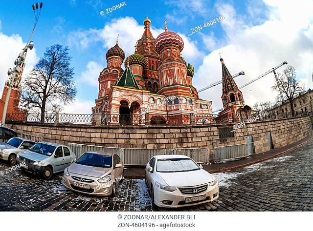 MOSCOW - APRIL 07: St. Basil Cathedral on Red Square on April 07, 2013 in Moscow, Russia