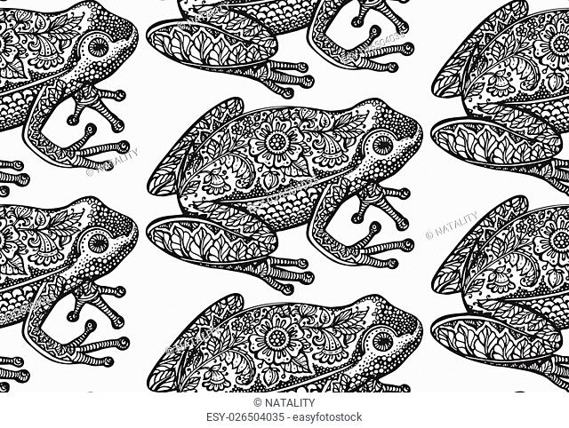 Seamless pattern with black and white ornate doodle frog and floral decorative ornament in graphic style. Vector endless background