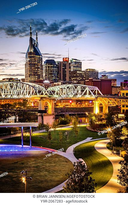 Twilight over Cumberland Park and downtown Nashville Tennessee, USA