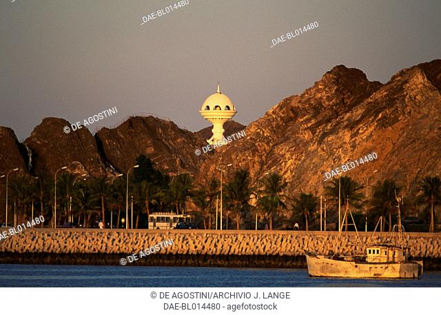 The Incense Burner, monument built on a hill above Riyam Park to celebrate Oman's 20th Nation, Muttrah, Oman