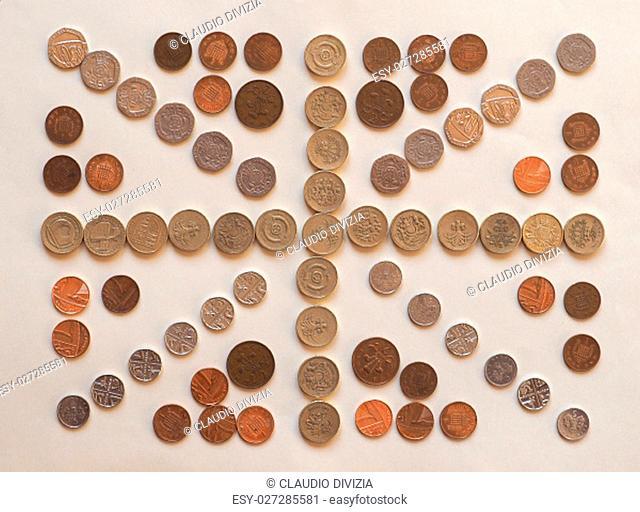 national flag of the United Kingdom (UK) aka Union Jack made with British Pound coins