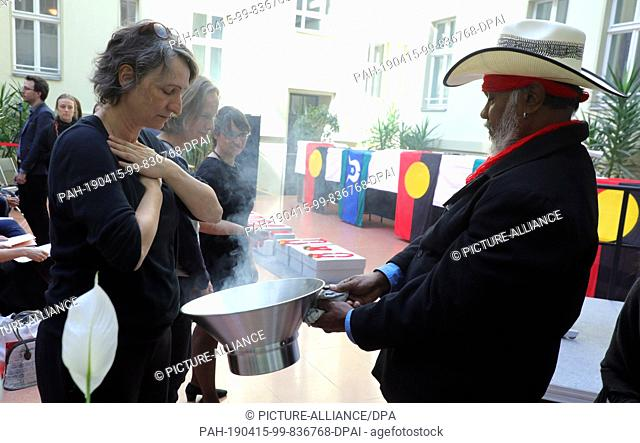 15 April 2019, Berlin: Native Australians, Aborigines, and invited guests attend a ceremony at the Australian Embassy to return the remains of indigenous...