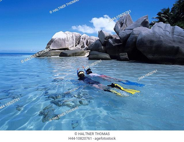 Seychelles, Indian ocean, Coco Island, two, persons, snorkeling, bathing, shallows, rock, island, isle, coast, sea, va