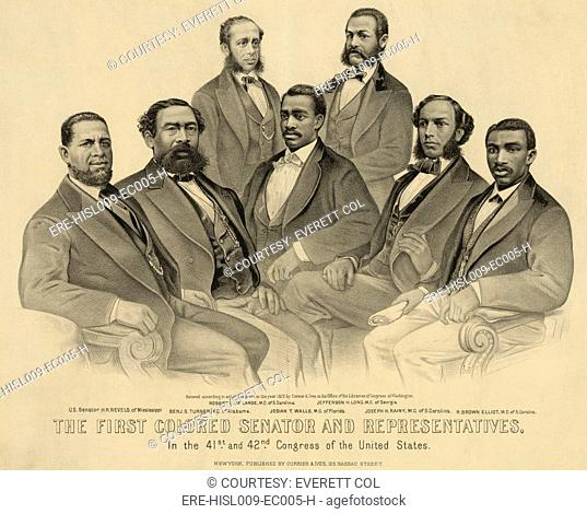 The first African American Senator and Representatives in the 41st and 42nd Congress of the United States. Group portrait of African American legislators:...