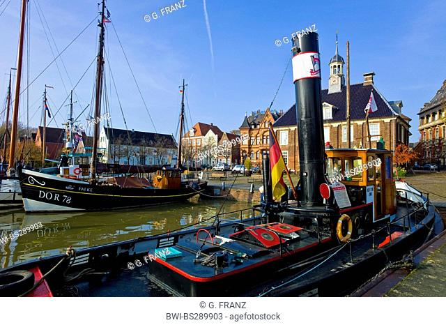 historic tugboat Bertus Freede in harbour, Germany, Leer