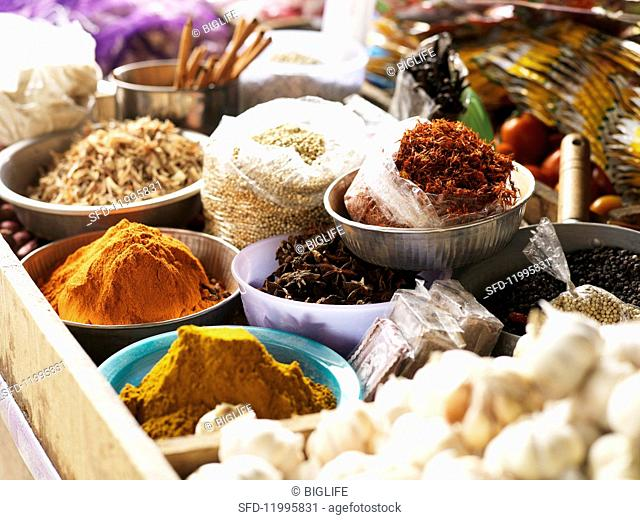 Assorted spices at a market
