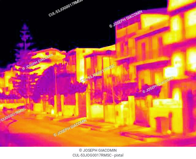 Thermal image of apartment buildings