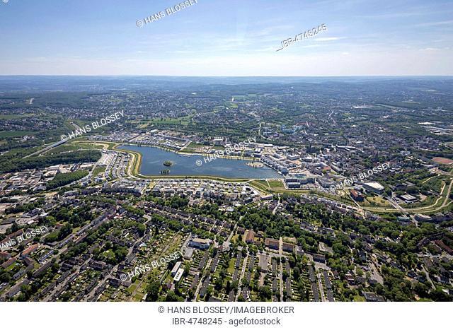 Aerial view, Phoenix Lake, Hörde, Dortmund, Ruhr Area, North Rhine-Westphalia, Germany