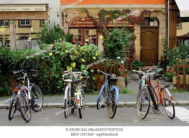 Street scene with bicycles, Strasbourg, Alsace, France