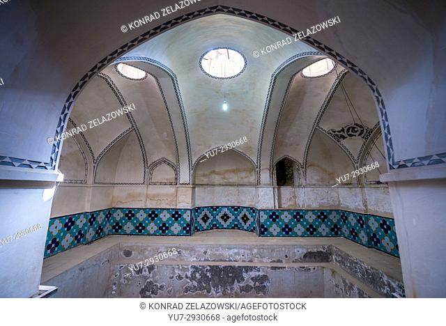 Bathouse interior in oldest extant Persian garden in Iran called Fin Garden (Bagh-e Fin), located in Kashan city