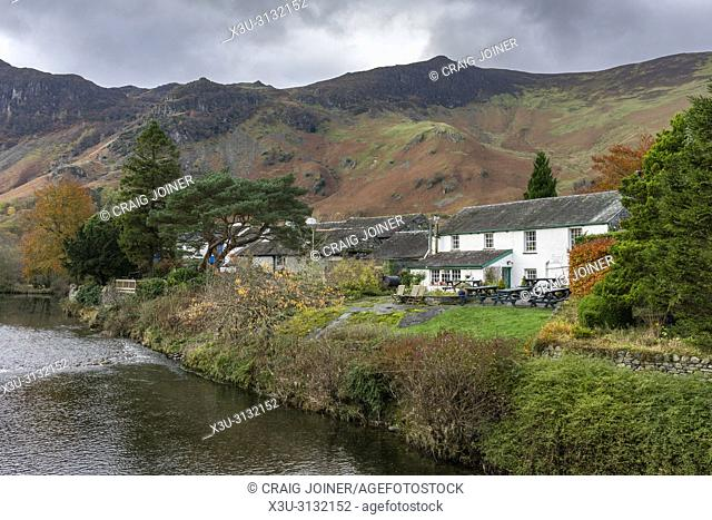 Cottages at Grange overlooking the River Derwent in the Lake District National Park, Cumbria, England
