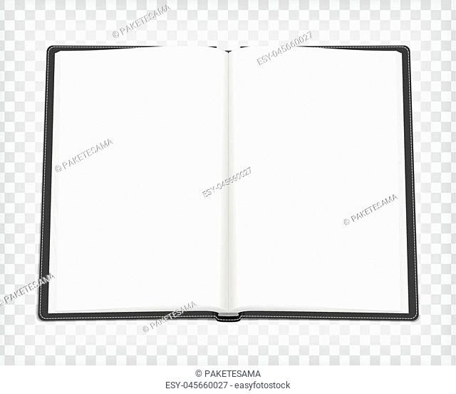 Notebook mockup. Empty sketch book with black cover. Open art book with place for your design. Blank sketchbook mock up. Vector illustration