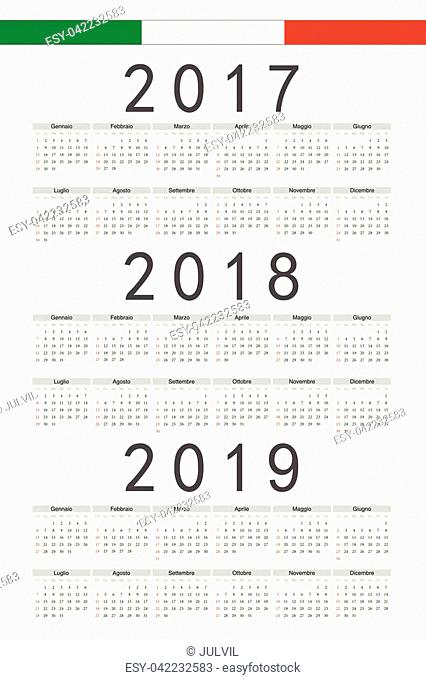 Set of black rectangle Italian 2017, 2018, 2019 year vector calendars. Week starts from Sunday