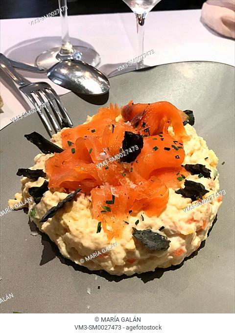 Ensaladilla rusa with smoked salmon