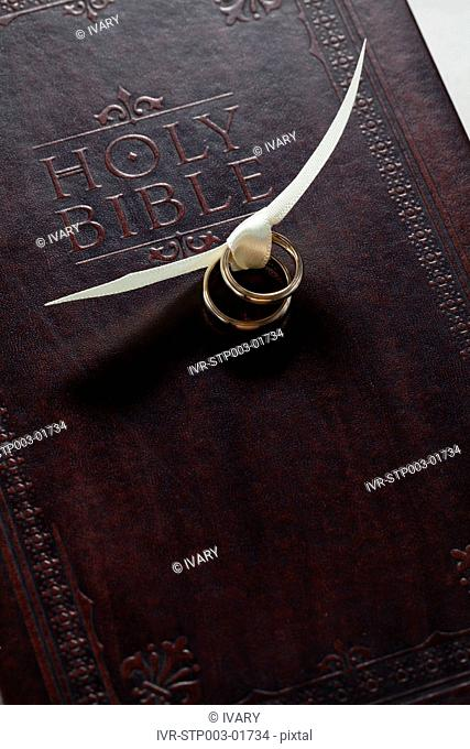 Couple Wedding Rings Tied With Ribbon On Holy Bible