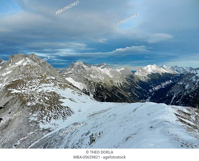 foehn (wind) mood, the first snow over the Karwendeltal, view of Rotwandlspitze on northern Karwendel mountain range, at the foreground Kirchlspitze and Tirol...