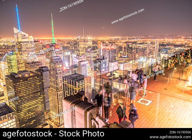 Rockefeller Center Observation Deck of the people and the night view. Shooting Location: New York, Manhattan