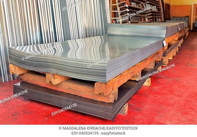 Stack of Cold steel coils in warehouse