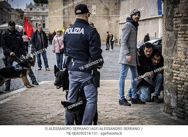 Protesters seen shouting slogans during the demonstration. Hundred of demonstrators clashed with police near the Vatican during the Turkish president's visit to...