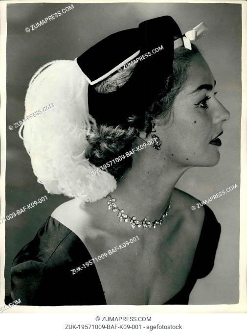 Oct. 09, 1957 - 9-10-57 Hats for the winter on show in London ?¢'Ǩ'Äú Black Velvet with white curled ostrich feather. Keystone Photo shows: ?¢'Ǩ?ìCoq...