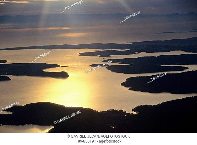 Puget Sound Aerial view at Sunset