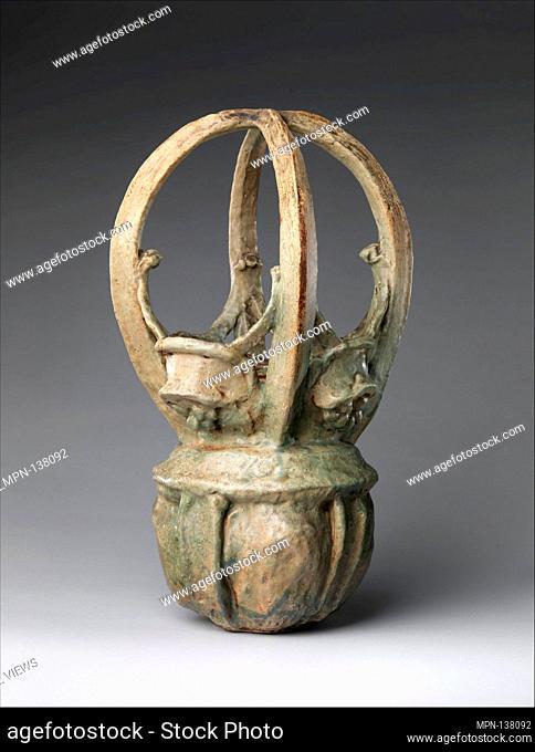 Basket vase. Maker: Georges Hoentschel (French, Paris 1855-1915 Paris); Date: ca. 1900; Culture: French, Saint-Amand-en-Puisaye; Medium: Stoneware; Dimensions:...